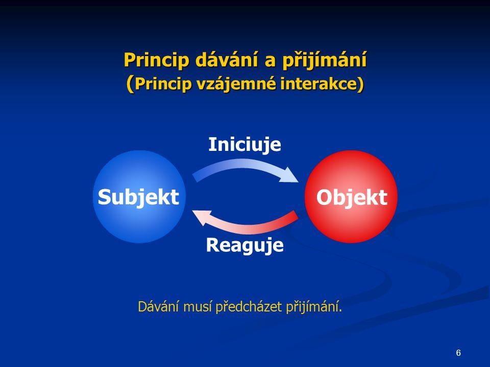 6 Princip dávání a přijímání ( Princip vzájemné interakce) Subjekt Objekt Iniciuje Reaguje Dávání musí předcházet přijímání.