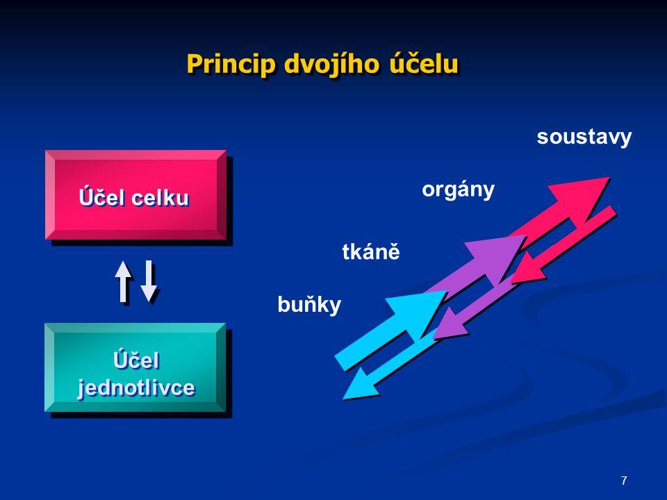 7 Účel celku Účel jednotlivce Princip dvojího účelu buňky tkáně orgány soustavy