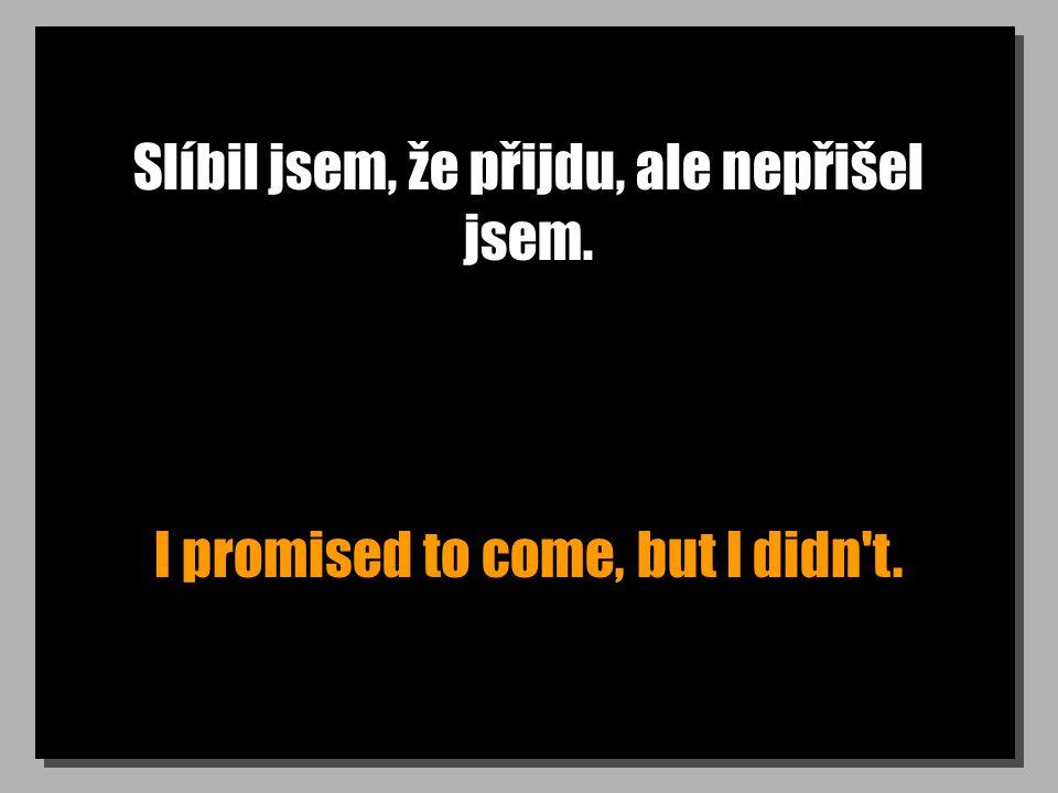 Slíbil jsem, že přijdu, ale nepřišel jsem. I promised to come, but I didn t.