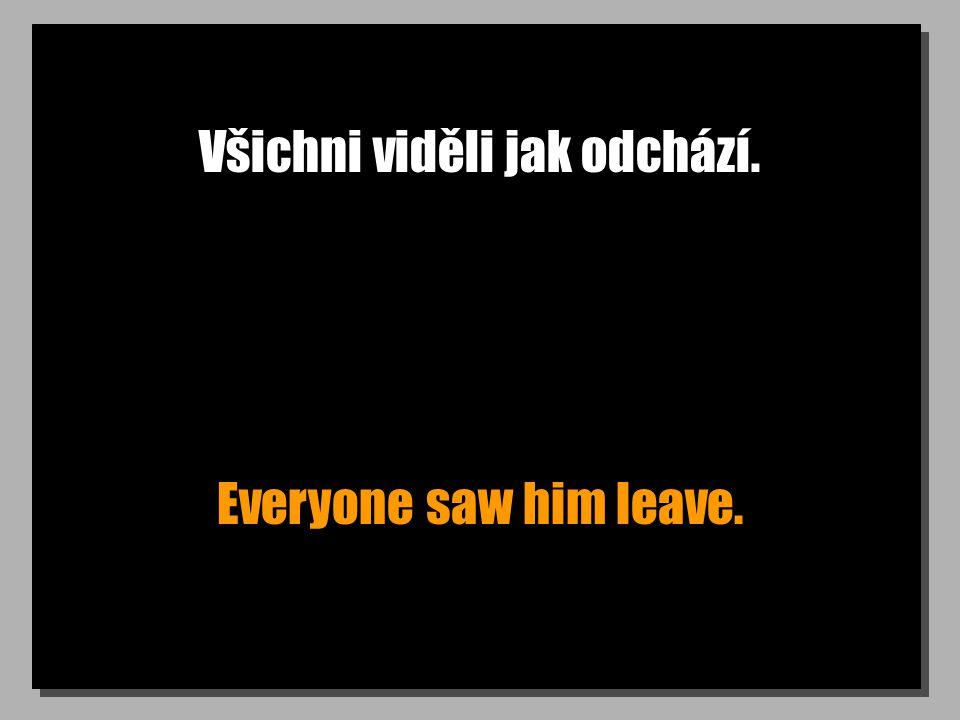 Všichni viděli jak odchází. Everyone saw him leave.