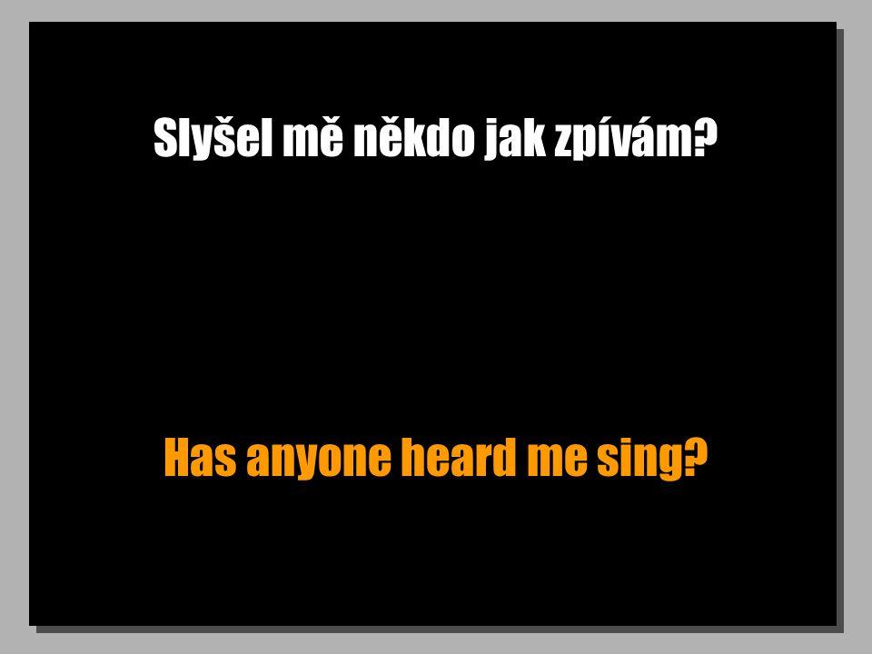 Slyšel mě někdo jak zpívám? Has anyone heard me sing?
