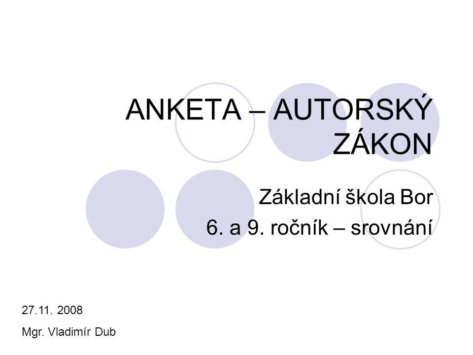 ANKETA – AUTORSKÝ ZÁKON Základní škola Bor 6. a 9. ročník – srovnání 27.11. 2008 Mgr. Vladimír Dub