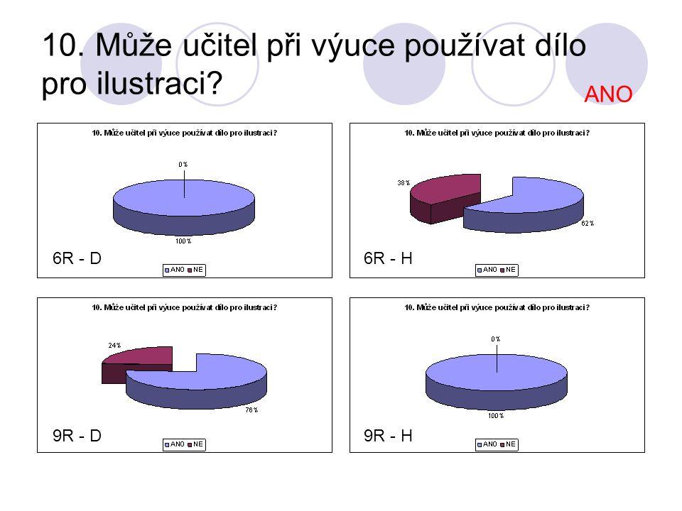 10. Může učitel při výuce používat dílo pro ilustraci? 6R - D 9R - D9R - H 6R - H ANO