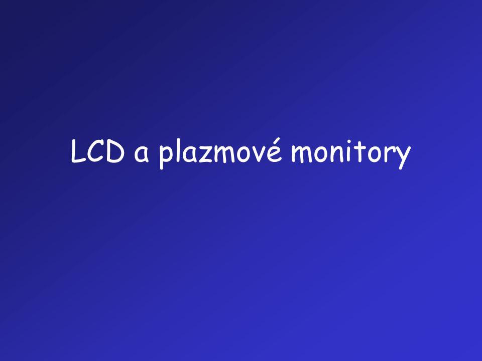 """LCD (1) •LCD (Liquid Crystal Display): zobrazovací jednotka, která při své činnosti využívá tech-nologii kapalných (tekutých) krystalů •Používá se zejména jako zobrazovací jednot-ka pro: –přenosné počítače (notebook, laptop) –""""nepočítačová zařízení (hodinky, kalkulačky, mobilní telefony atd.) –pracovní stanice, kde nahrazuje monitor pracu-jící na principu CRT"""