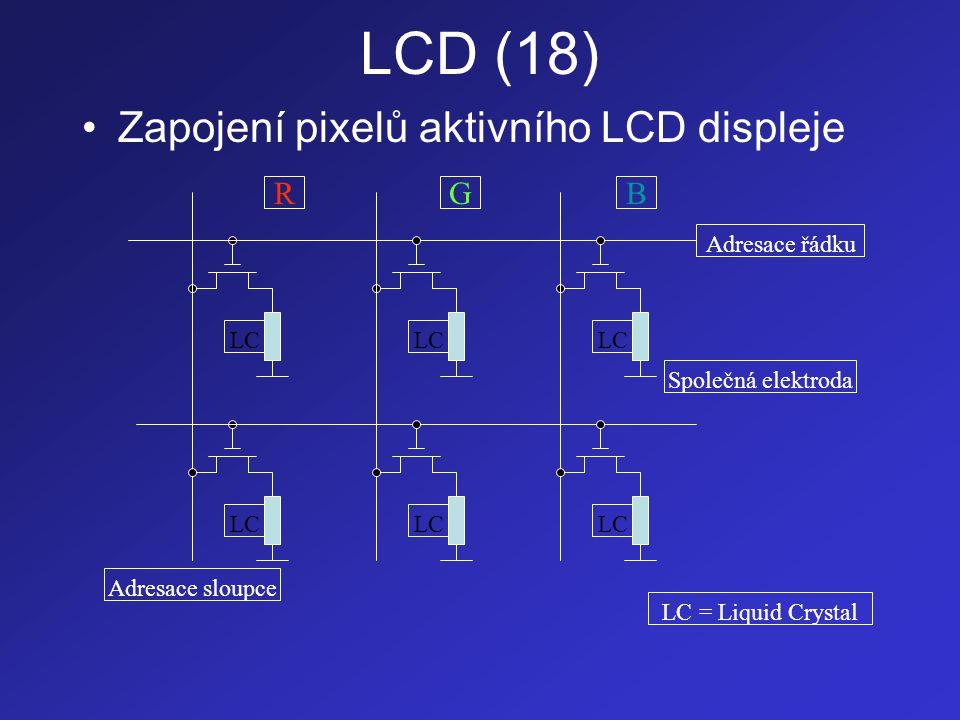 LCD (18) •Zapojení pixelů aktivního LCD displeje LC RGB Adresace řádku Adresace sloupce Společná elektroda LC = Liquid Crystal