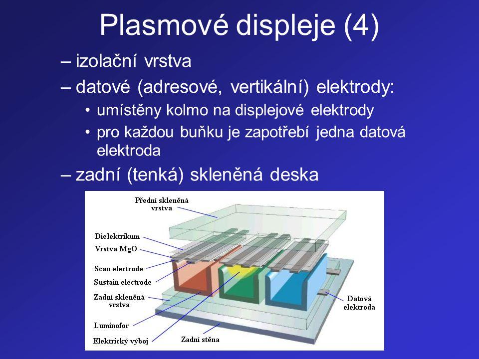 Plasmové displeje (4) –izolační vrstva –datové (adresové, vertikální) elektrody: •umístěny kolmo na displejové elektrody •pro každou buňku je zapotřeb