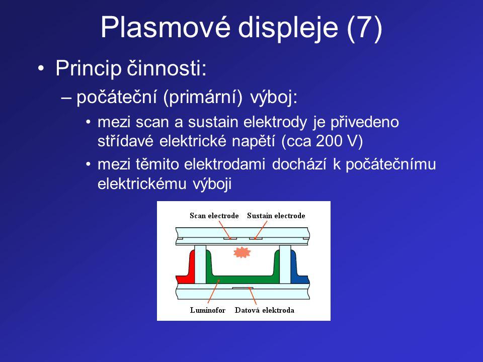 Plasmové displeje (8) –výběr obrazové buňky: •mezi datovou a scan elektrodu je přivedeno elektrické napětí •dochází k uložení elektrického náboje na stěny buňky a ke vzniku elektrického výboje, který se postupně rozšiřuje po celé buňce