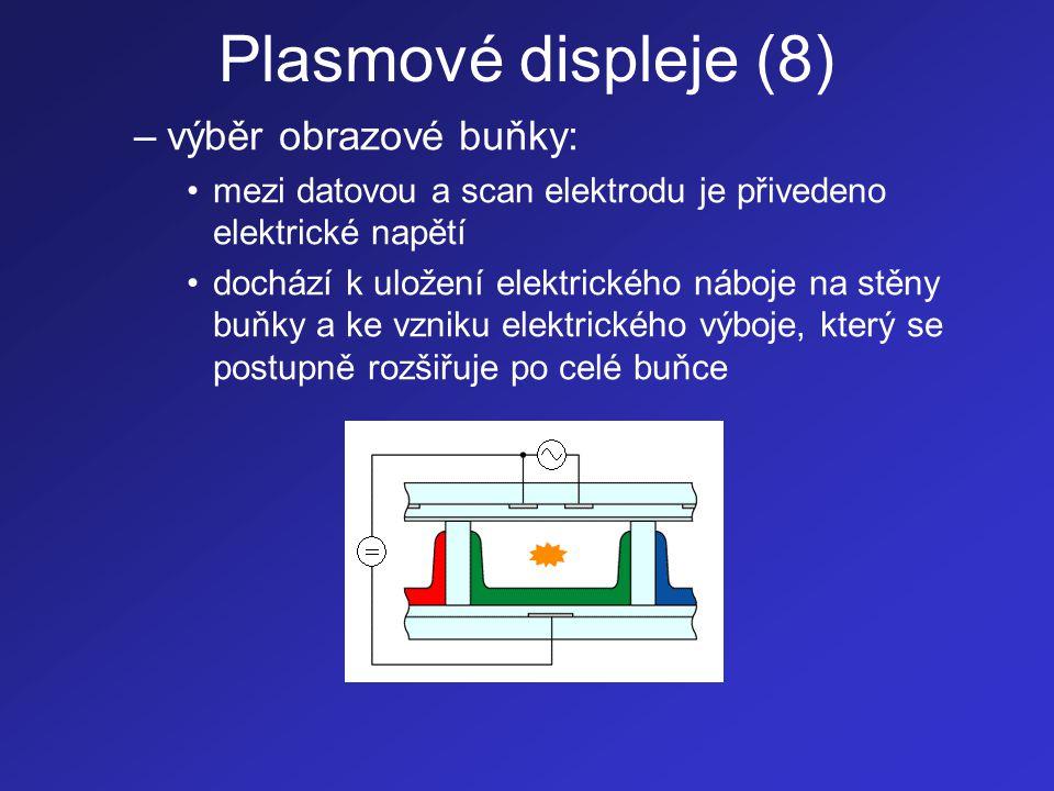 Plasmové displeje (9) –ustálený výboj: •mezi scan a sustain elektrody je přivedeno nižší stří- davé elektrické napětí (50 V) •výboj je vlivem náboje na stěnách buňky rozšířen po jejím celém prostoru •při elektrickém výboji jsou atomy plynu vybuzeny (excitovány) na vyšší energetickou hladinu •při návratu těchto atomů na jejich základní energe- tickou hladinu (do stabilního stavu) dochází ke vzniku UV záření (pro Xe je vlnová délka tohoto záření 147 nm) •UV záření dopadá na luminofor, který jeho kinetickou energii přemění na viditelné světlo příslušné barvy