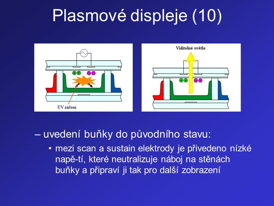 Plasmové displeje (11) •Problém: –intenzitu elektrického výboje nelze plynule ovlá-dat  tímto způsobem nelze ovládat odstíny barev •Různé barevné odstíny jsou vytvářeny rych-lým rozsvěcováním a zhasínáním příslušných obrazových buněk •Rozsvěcování a zhasínání prováděné v různě dlouhých intervalech pak vytváří dojem růz-ných barevných odstínů