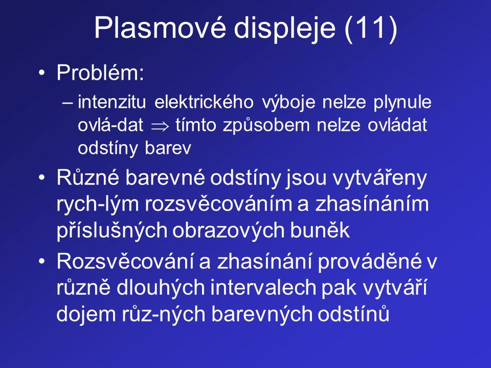 Plasmové displeje (11) •Problém: –intenzitu elektrického výboje nelze plynule ovlá-dat  tímto způsobem nelze ovládat odstíny barev •Různé barevné ods