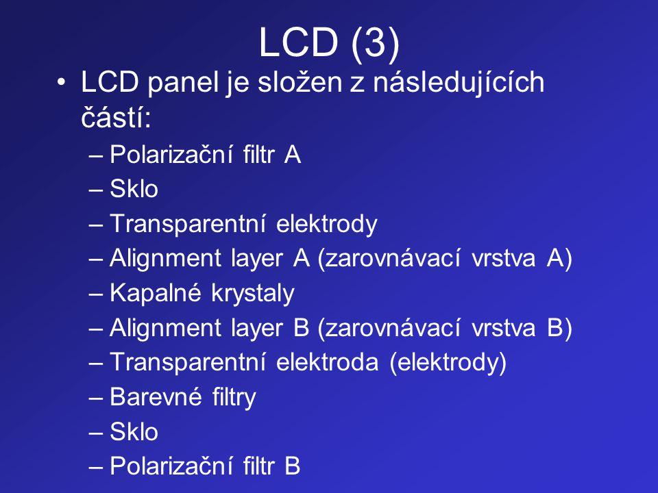 LCD (3) •LCD panel je složen z následujících částí: –Polarizační filtr A –Sklo –Transparentní elektrody –Alignment layer A (zarovnávací vrstva A) –Kap