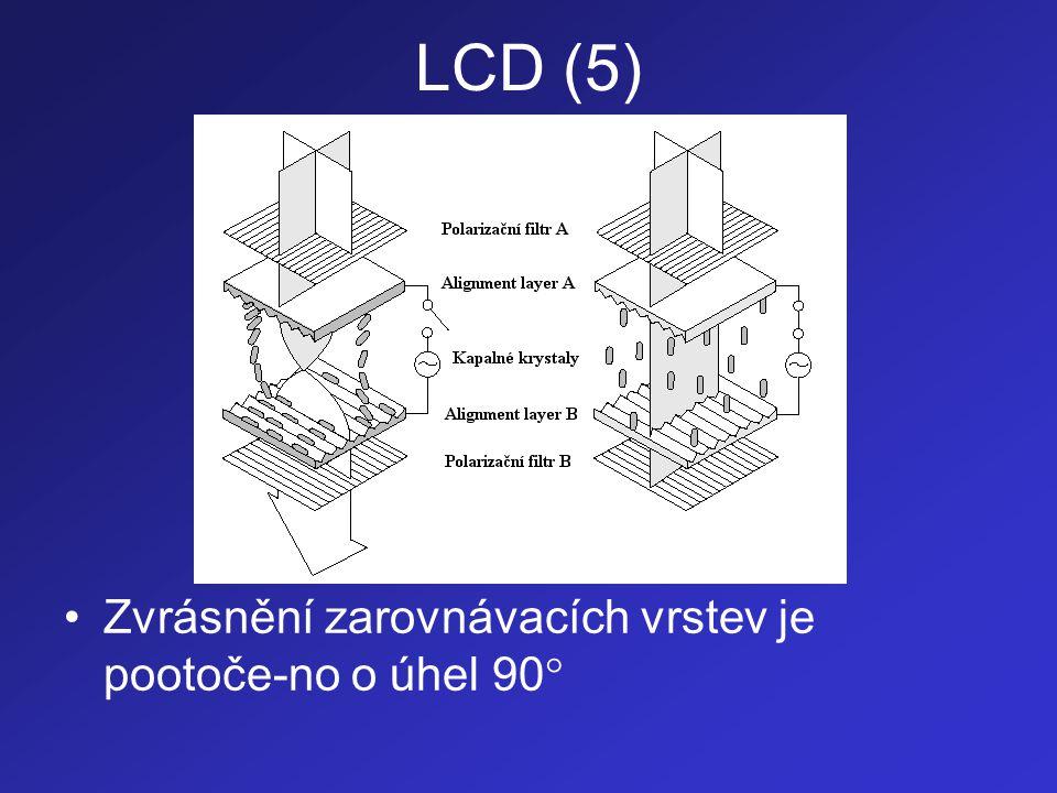 LCD (6) •Polarizační filtry jsou nastaveny tak, aby propouštěly polarizovanou rovinu světla, která je rovnoběžná se zvrásněním příslušné zarovnávací vrstvy •Molekuly kapalných krystalů přilehlé k za-rovnávacím vrstvám se natočí ve směru jejich zvrásnění •Mezilehlé molekuly se stočí a vytvoří tak část šroubovice (spirály)