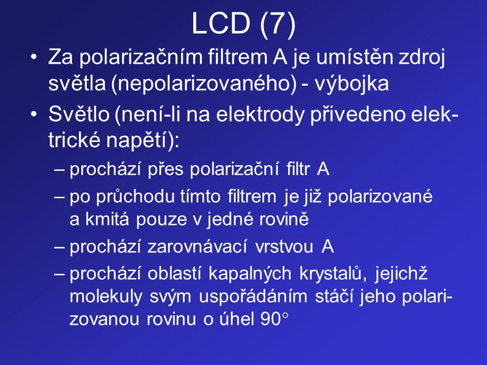 LCD (7) •Za polarizačním filtrem A je umístěn zdroj světla (nepolarizovaného) - výbojka •Světlo (není-li na elektrody přivedeno elek- trické napětí):