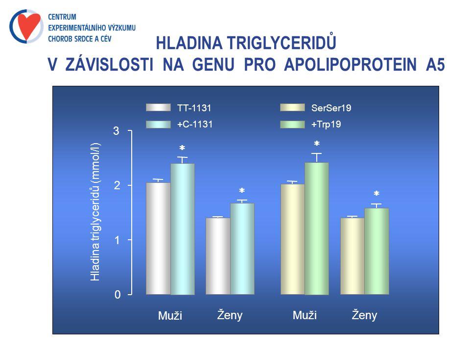 HLADINA TRIGLYCERIDŮ V ZÁVISLOSTI NA GENU PRO APOLIPOPROTEIN A5 0 1 2 3 Hladina triglyceridů (mmol/l) Muži ŽenyMužiŽeny  TT-1131 +C-1131 SerSer19 +Tr