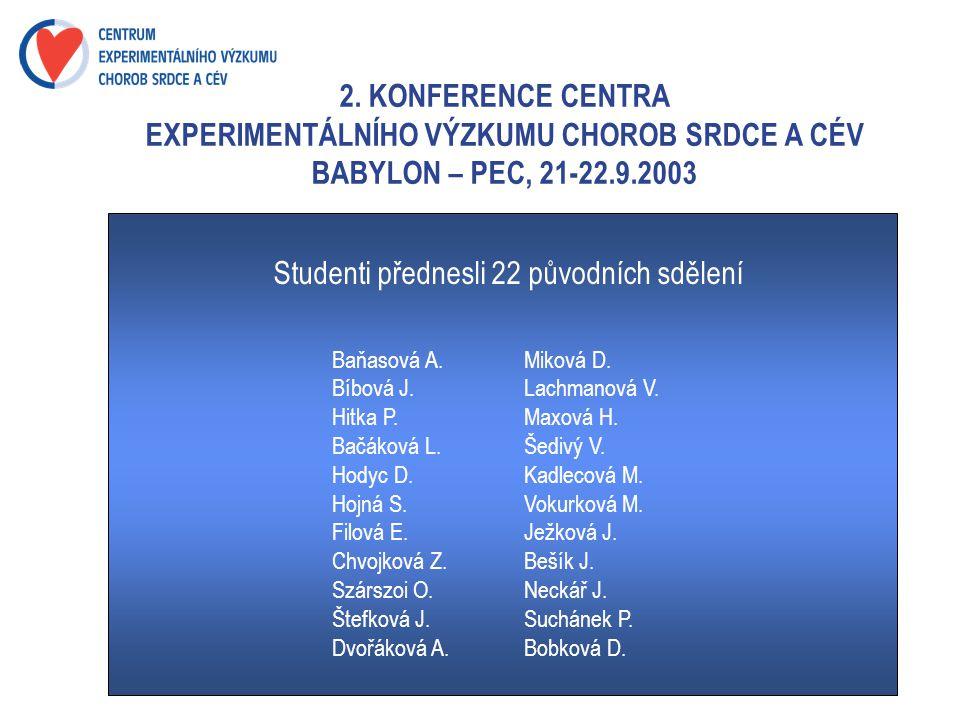 2. KONFERENCE CENTRA EXPERIMENTÁLNÍHO VÝZKUMU CHOROB SRDCE A CÉV BABYLON – PEC, 21-22.9.2003 Studenti přednesli 22 původních sdělení Baňasová A. Mikov