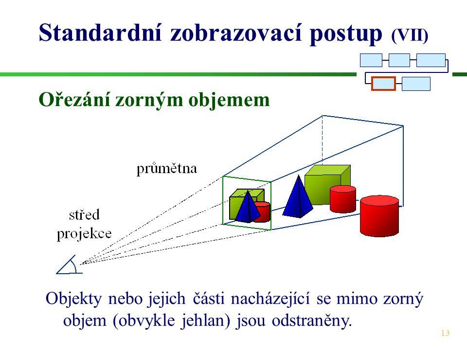 13 Standardní zobrazovací postup (VII) Ořezání zorným objemem Objekty nebo jejich části nacházející se mimo zorný objem (obvykle jehlan) jsou odstraněny.