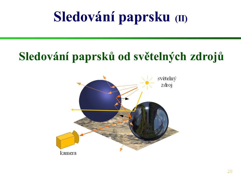 20 Sledování paprsku (II) Sledování paprsků od světelných zdrojů