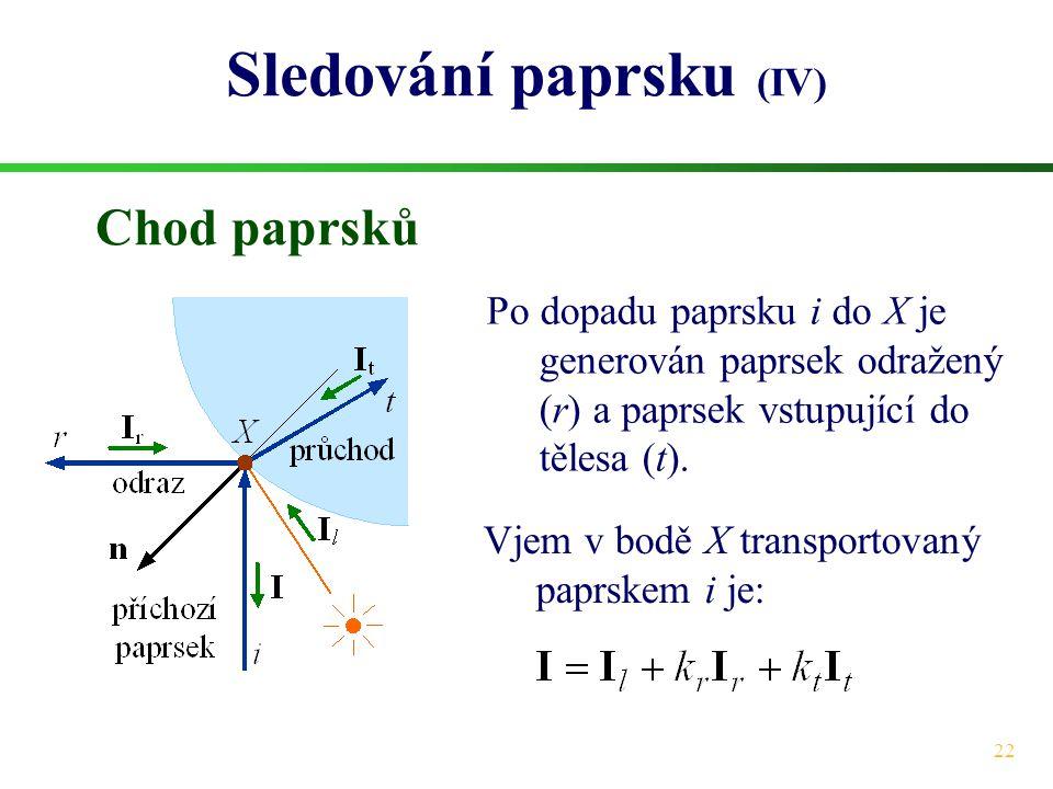 22 Sledování paprsku (IV) Chod paprsků Po dopadu paprsku i do X je generován paprsek odražený (r) a paprsek vstupující do tělesa (t).
