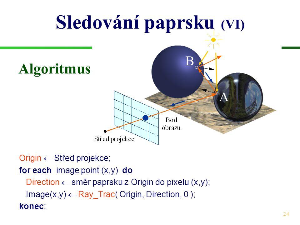 24 Sledování paprsku (VI) Origin  Střed projekce; for each image point (x,y) do Direction  směr paprsku z Origin do pixelu (x,y); Image(x,y)  Ray_Trac( Origin, Direction, 0 ); konec; A B Algoritmus