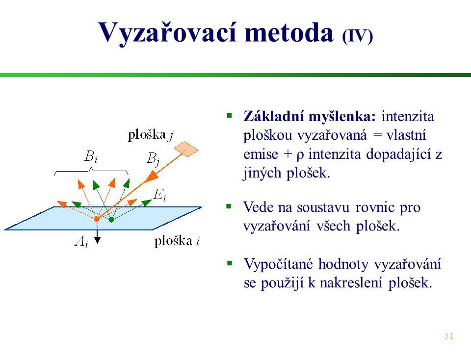 31 Vyzařovací metoda (IV)  Základní myšlenka: intenzita ploškou vyzařovaná = vlastní emise + ρ intenzita dopadající z jiných plošek.  Vede na sousta