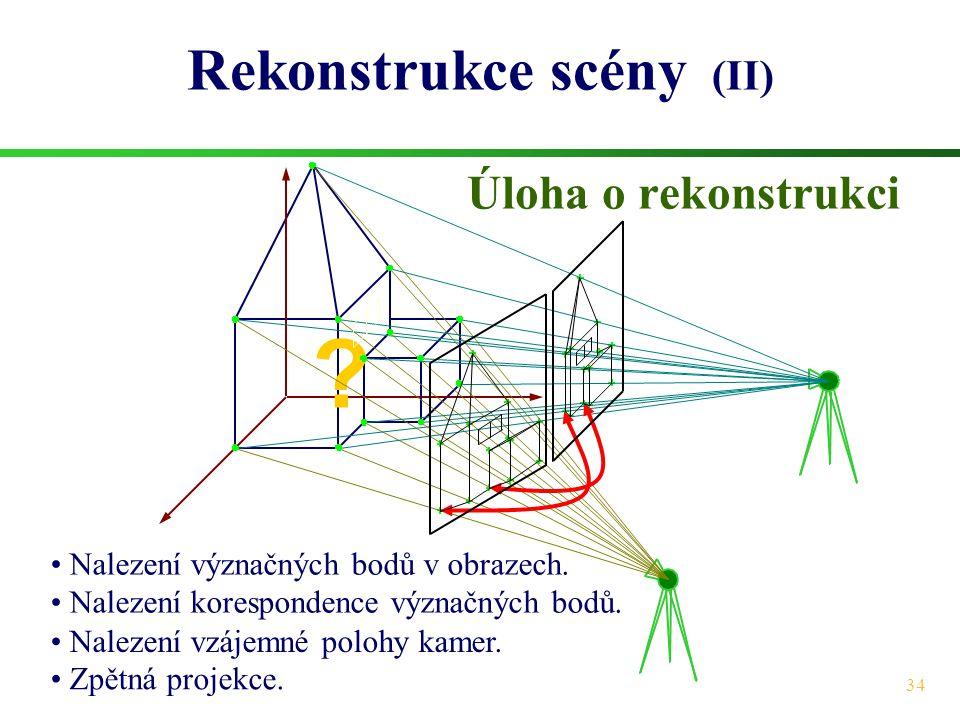34 ? Rekonstrukce scény (II) Úloha o rekonstrukci • Nalezení význačných bodů v obrazech. • Nalezení korespondence význačných bodů. • Nalezení vzájemné