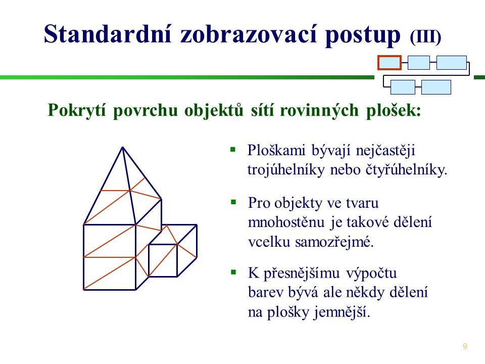 9 Standardní zobrazovací postup (III) Pokrytí povrchu objektů sítí rovinných plošek:  Pro objekty ve tvaru mnohostěnu je takové dělení vcelku samozřejmé.