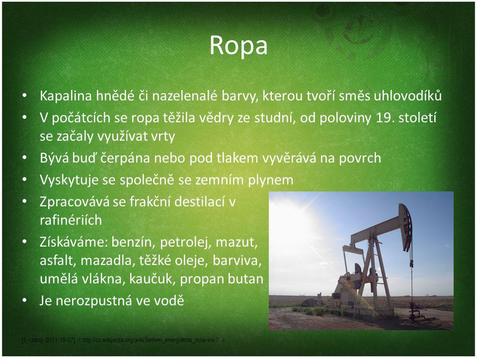 Ropa • Kapalina hnědé či nazelenalé barvy, kterou tvoří směs uhlovodíků • V počátcích se ropa těžila vědry ze studní, od poloviny 19.