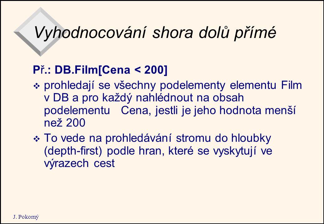 J. Pokorný Vyhodnocování shora dolů přímé Př.: DB.Film[Cena < 200]  prohledají se všechny podelementy elementu Film v DB a pro každý nahlédnout na ob