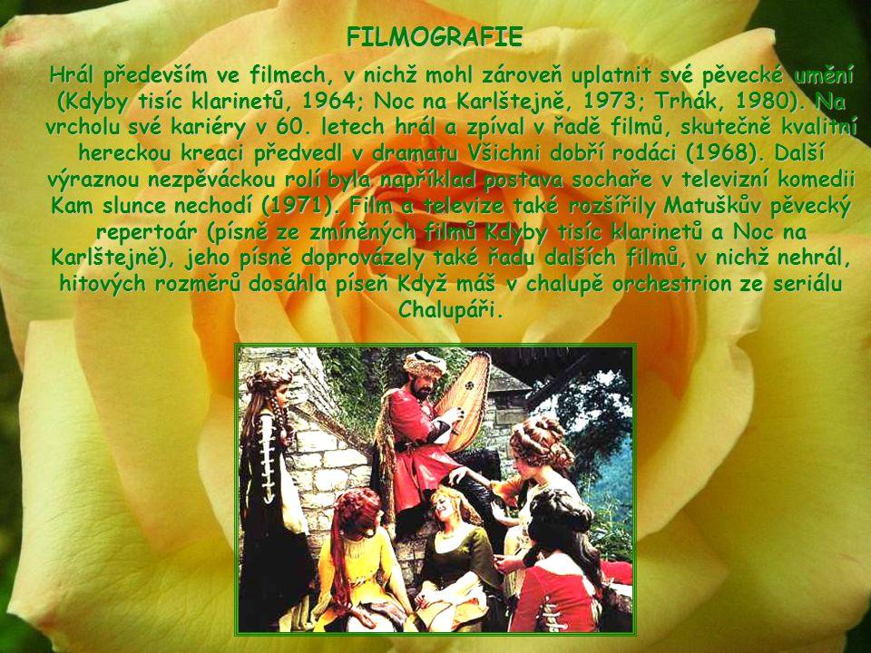 FILMOGRAFIE Hrál především ve filmech, v nichž mohl zároveň uplatnit své pěvecké umění (Kdyby tisíc klarinetů, 1964; Noc na Karlštejně, 1973; Trhák, 1980).