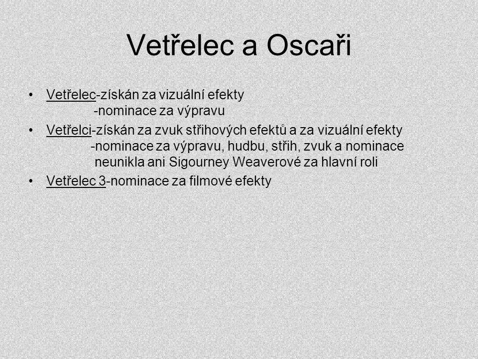 Vetřelec a Oscaři •Vetřelec-získán za vizuální efekty -nominace za výpravu •Vetřelci-získán za zvuk střihových efektů a za vizuální efekty -nominace z