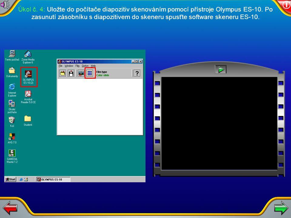 Úkol č.3: Diaprojektor Braun EC 150 umožňuje postupné promítání diapozitivů směrem vpřed nebo vzad. Vpřed – krátký stisk ovládacího tlačítka. Vzad – d