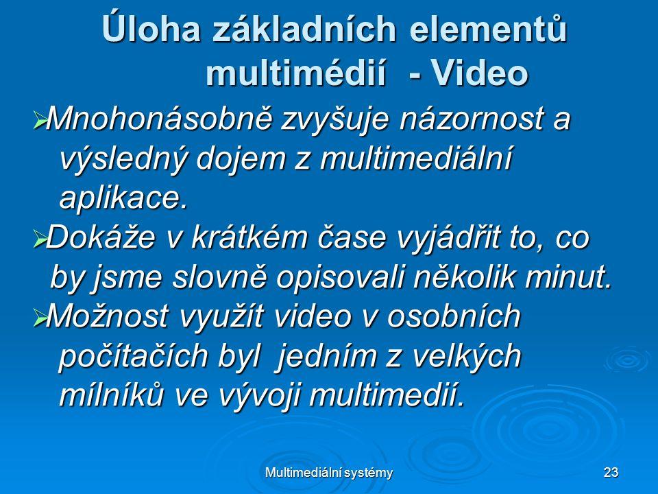 Multimediální systémy 23 Úloha základních elementů multimédií - Video  Mnohonásobně zvyšuje názornost a výsledný dojem z multimediální výsledný dojem z multimediální aplikace.