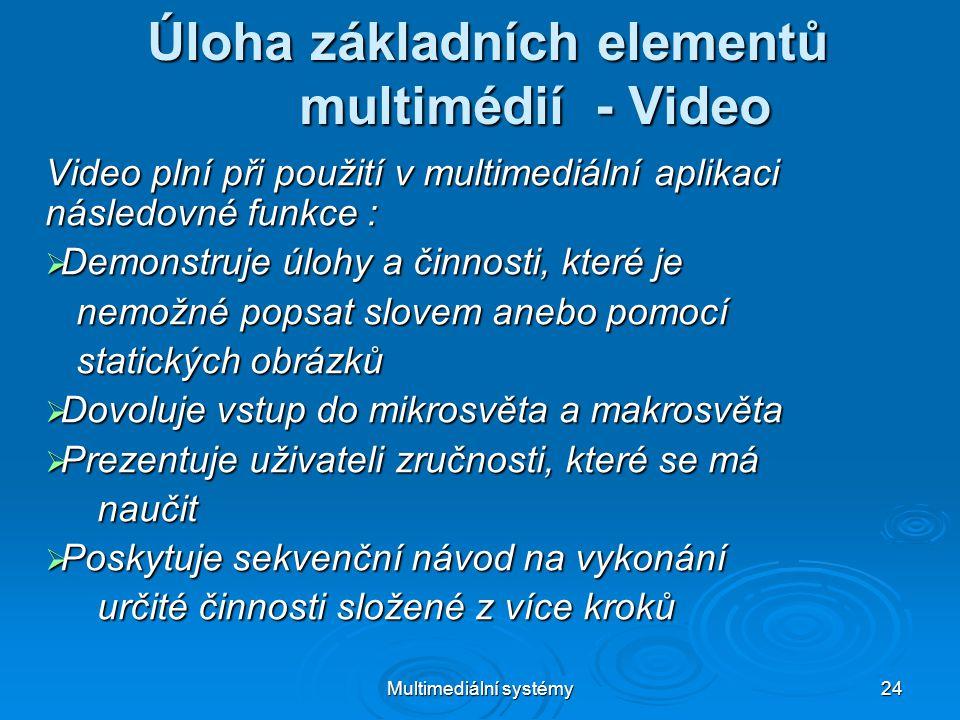 Multimediální systémy 24 Úloha základních elementů multimédií - Video Video plní při použití v multimediální aplikaci následovné funkce :  Demonstruje úlohy a činnosti, které je nemožné popsat slovem anebo pomocí nemožné popsat slovem anebo pomocí statických obrázků statických obrázků  Dovoluje vstup do mikrosvěta a makrosvěta  Prezentuje uživateli zručnosti, které se má naučit naučit  Poskytuje sekvenční návod na vykonání určité činnosti složené z více kroků určité činnosti složené z více kroků