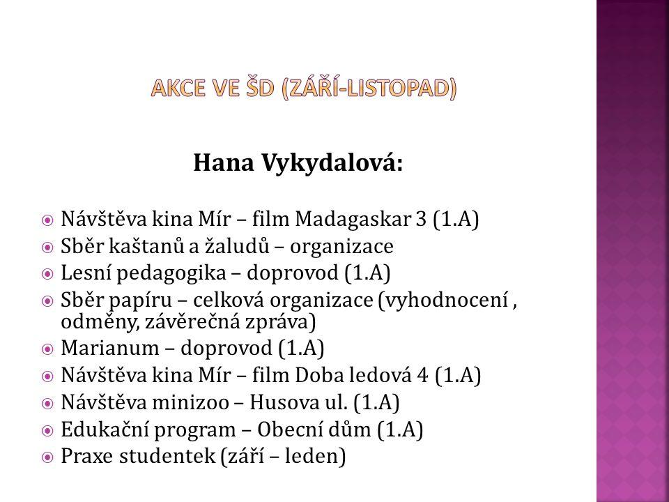 Eva Vinárková:  Návštěva kina Mír – film Madagaskar 3 (1.B)  Návštěva kina Mír – film Doba ledová 4 (1.B)  Návštěva minizoo – Husova ul. (1.B)  Ed