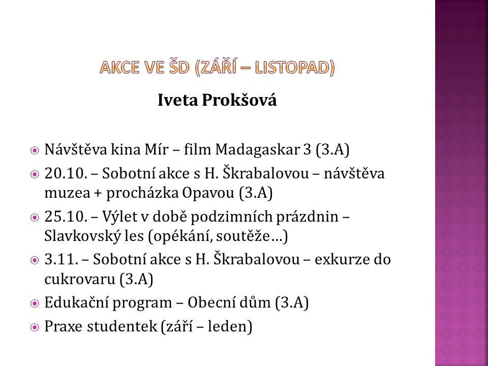 Hana Vykydalová:  Návštěva kina Mír – film Madagaskar 3 (1.A)  Sběr kaštanů a žaludů – organizace  Lesní pedagogika – doprovod (1.A)  Sběr papíru