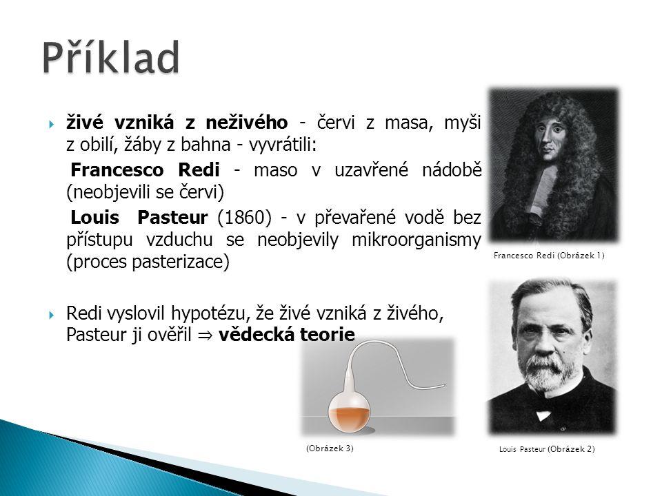  živé vzniká z neživého - červi z masa, myši z obilí, žáby z bahna - vyvrátili: Francesco Redi - maso v uzavřené nádobě (neobjevili se červi) Louis Pasteur (1860) - v převařené vodě bez přístupu vzduchu se neobjevily mikroorganismy (proces pasterizace)  Redi vyslovil hypotézu, že živé vzniká z živého, Pasteur ji ověřil ⇒ vědecká teorie Francesco Redi (Obrázek 1) Louis Pasteur (Obrázek 2)(Obrázek 3)