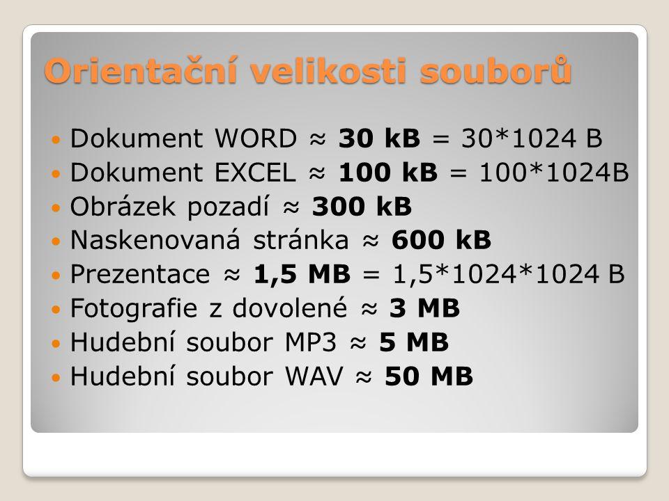 Orientační velikosti souborů  Dokument WORD ≈ 30 kB = 30*1024 B  Dokument EXCEL ≈ 100 kB = 100*1024B  Obrázek pozadí ≈ 300 kB  Naskenovaná stránka