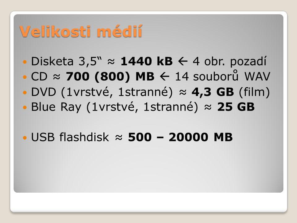 """Velikosti médií  Disketa 3,5"""" ≈ 1440 kB  4 obr. pozadí  CD ≈ 700 (800) MB  14 souborů WAV  DVD (1vrstvé, 1stranné) ≈ 4,3 GB (film)  Blue Ray (1v"""