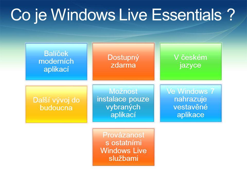 Co obsahují Live Essentials MessengerMailWriterFotogalerieMovie Maker Zabezpečení rodiny Toolbar Office Outlook Connector Office Live Update