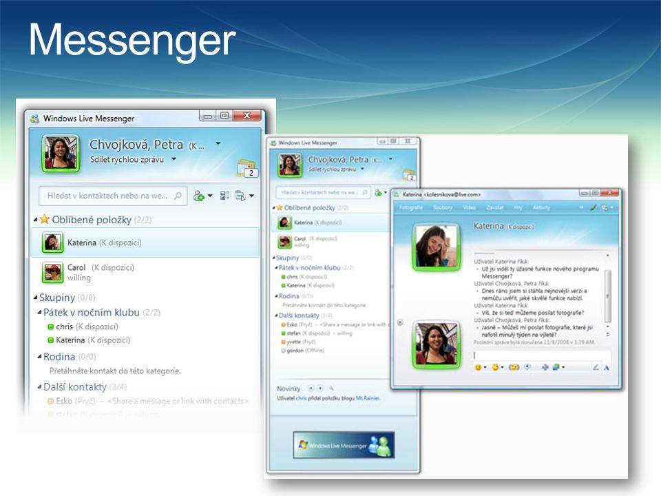 Mail  Je možné kontrolovat několik e-mailových účtů v jednom programu – (Hotmail, gmail, Seznam a další služby).