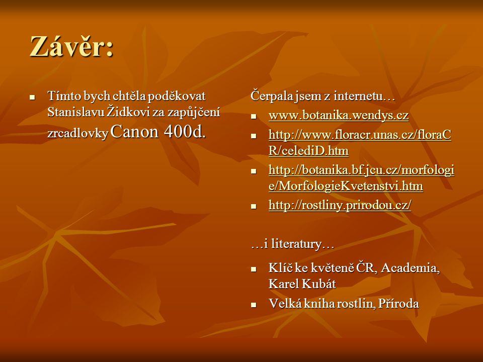 Závěr:  Tímto bych chtěla poděkovat Stanislavu Židkovi za zapůjčení zrcadlovky Canon 400d. Čerpala jsem z internetu…  www.botanika.wendys.cz www.bot