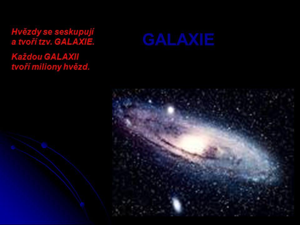 GALAXIE Hvězdy se seskupují a tvoří tzv. GALAXIE. Každou GALAXII tvoří miliony hvězd.