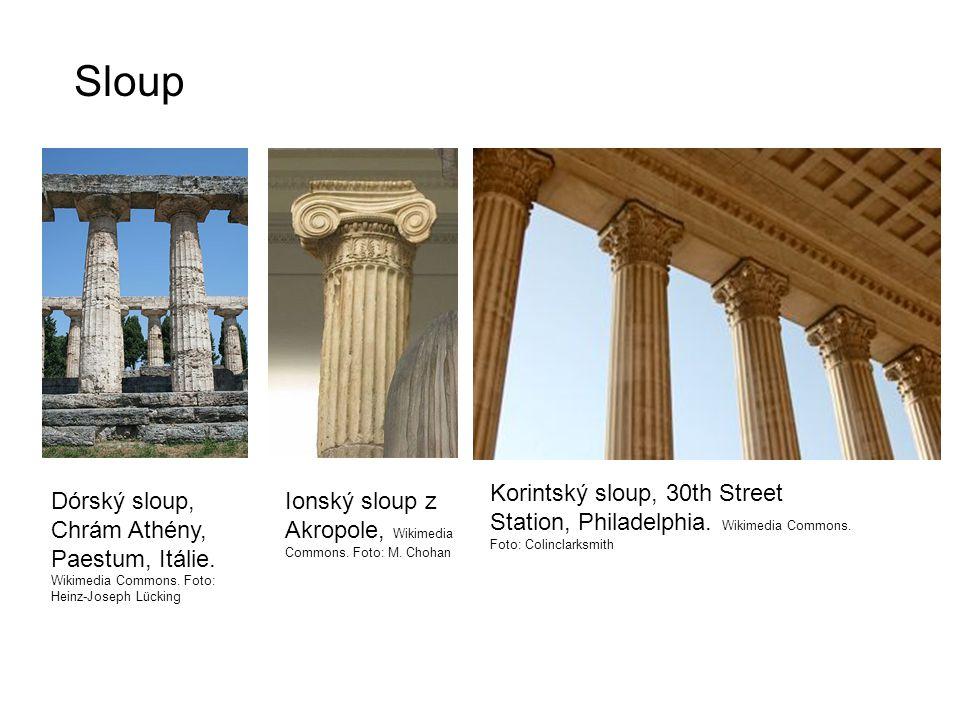 Sloup Dórský sloup, Chrám Athény, Paestum, Itálie.