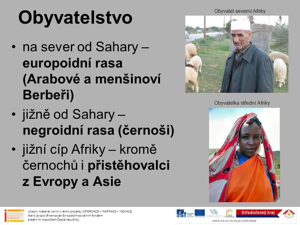 Obyvatelstvo •na sever od Sahary – europoidní rasa (Arabové a menšinoví Berbeři) •jižně od Sahary – negroidní rasa (černoši) •jižní cíp Afriky – kromě