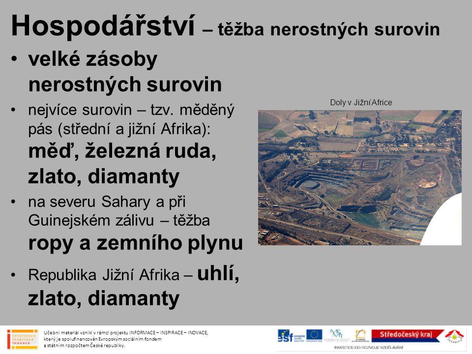 Hospodářství – těžba nerostných surovin •velké zásoby nerostných surovin •nejvíce surovin – tzv. měděný pás (střední a jižní Afrika): měď, železná rud