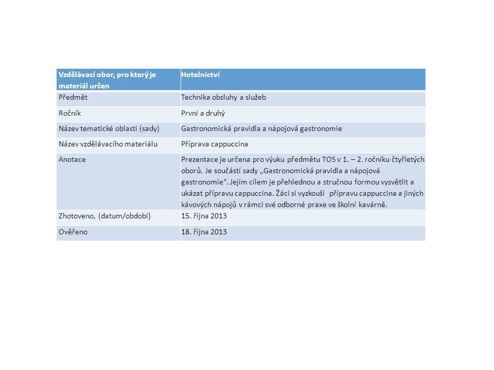 Vzdělávací obor, pro který je materiál určen Hotelnictví PředmětTechnika obsluhy a služeb RočníkPrvní a druhý Název tematické oblasti (sady)Gastronomická pravidla a nápojová gastronomie Název vzdělávacího materiáluPříprava cappuccina AnotacePrezentace je určena pro výuku předmětu TOS v 1.