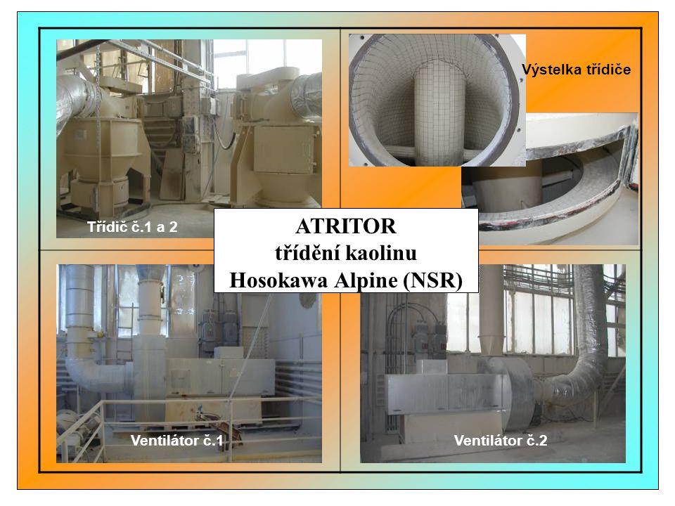 Ventilátor č.2Ventilátor č.1 Třídič č.1 a 2 Výstelka třídiče ATRITOR třídění kaolinu Hosokawa Alpine (NSR)