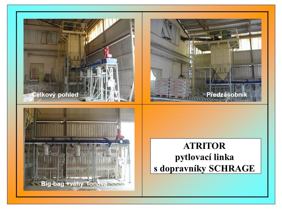 ATRITOR pytlovací linka s dopravníky SCHRAGE Big-bag +váhy Tonava Celkový pohledPředzásobník