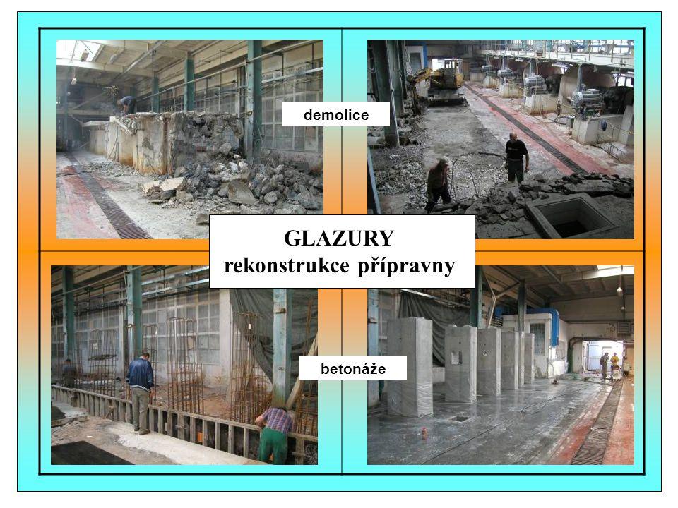 demolice betonáže GLAZURY rekonstrukce přípravny