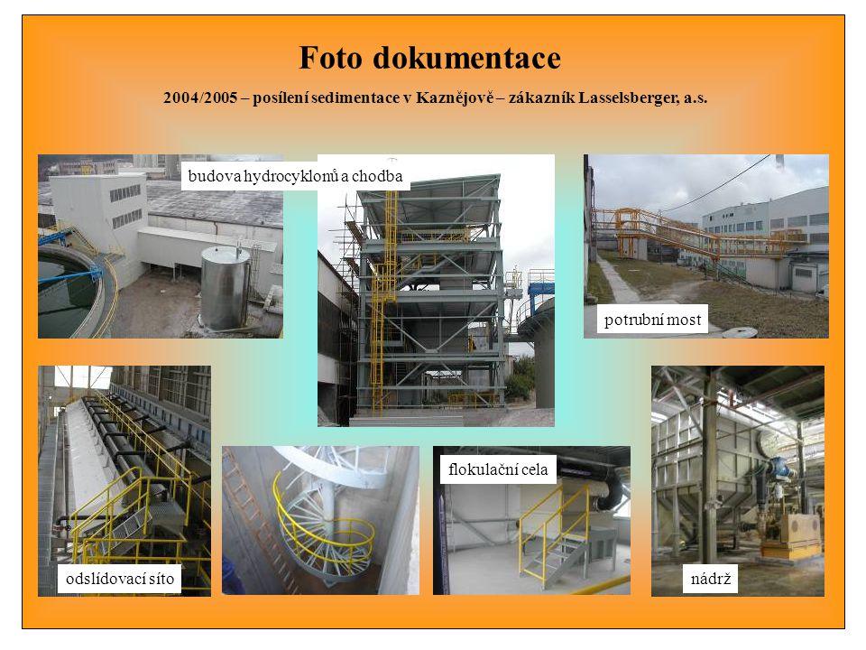 Foto dokumentace 2004/2005 – posílení sedimentace v Kaznějově – zákazník Lasselsberger, a.s. potrubní most odslídovací sítonádrž flokulační cela budov